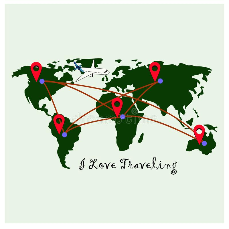 World map with red location pointers stock illustration