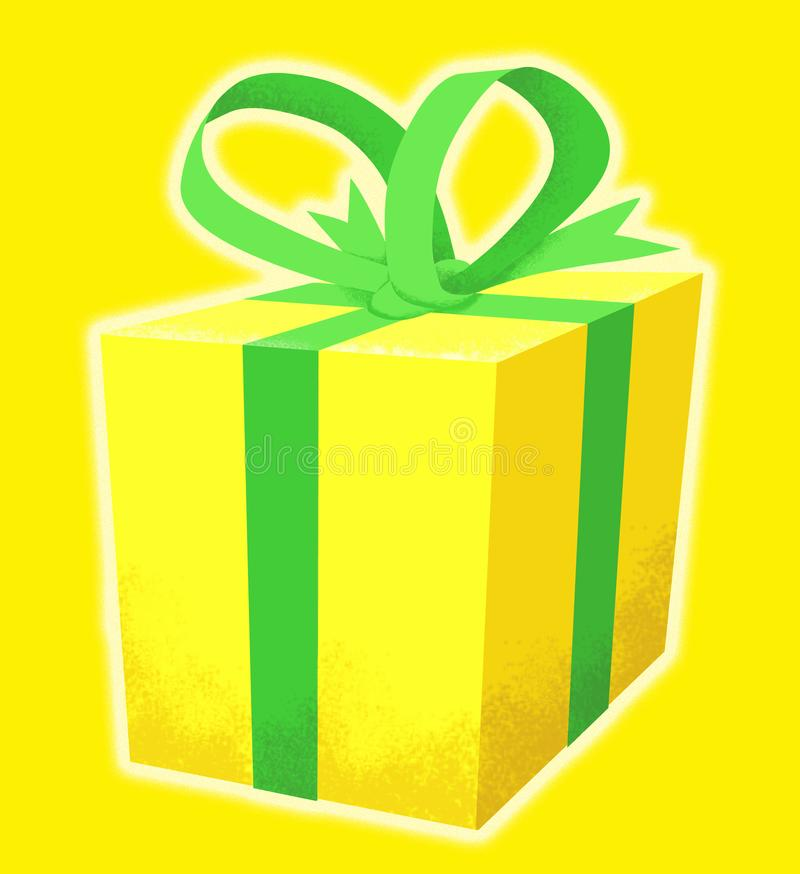 Present wrapped in yellow with green ribbon vector illustration