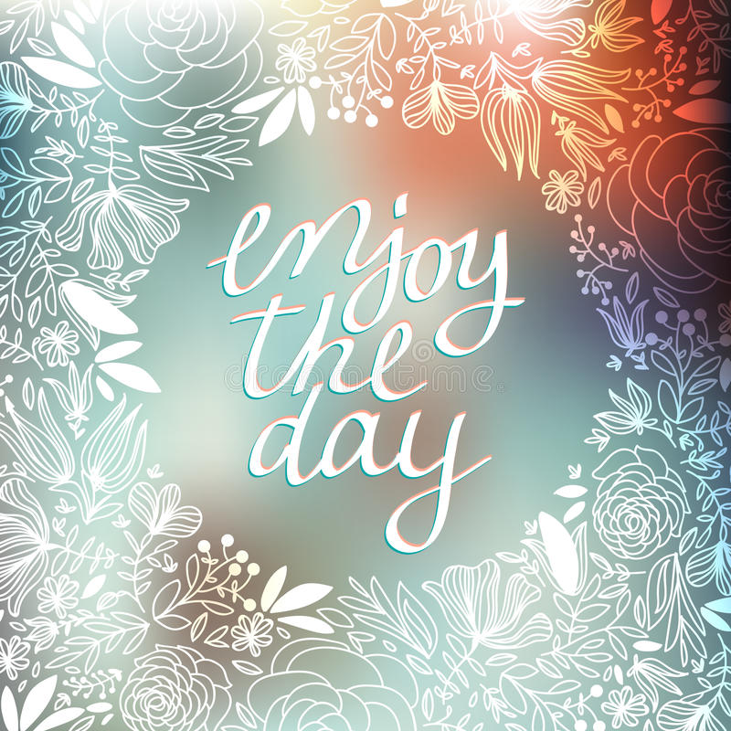 Illustration of wreath with leaves and berries and enjoy the day message on pastel background. Holidays wreaths, floral stock photo