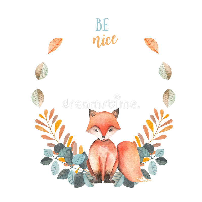 Illustration, wreath with watercolor fox, blue and orange plants, hand drawn vector illustration