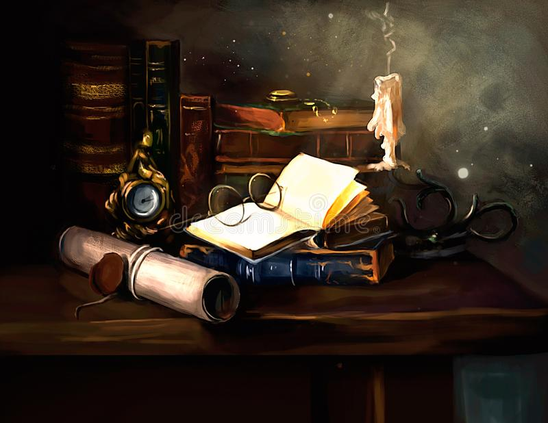Illustration of writer`s Desk. Illustration of a writer`s Desk stock illustration