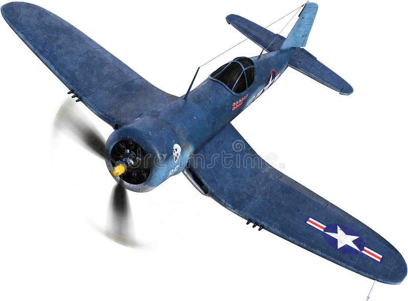 WWII Fighter Plane, War, Isolated. Illustration of a WWII Corsair fighter plane. The military flying weapon of war is called a warbird. isolated on white, PNG stock image