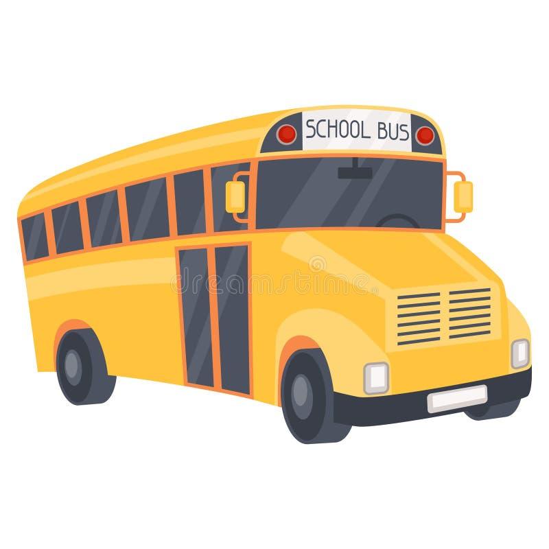 Illustration of yellow school bus in cartoon style stock illustration