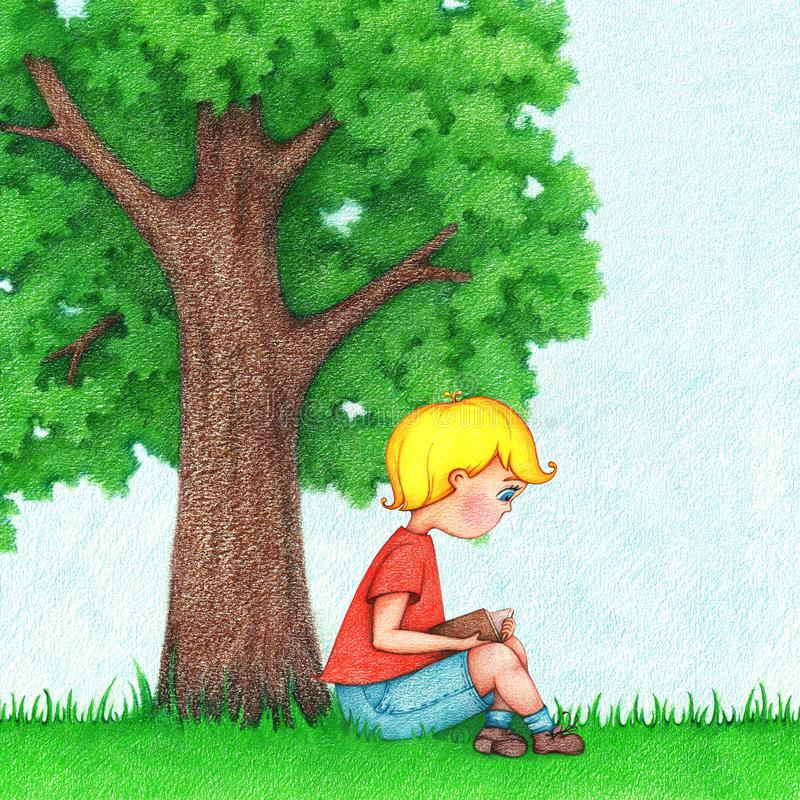 Illustration of young boy reading a book. Hand drawn picture of the boy sits under the tree and reads a book by the color pencils royalty free illustration