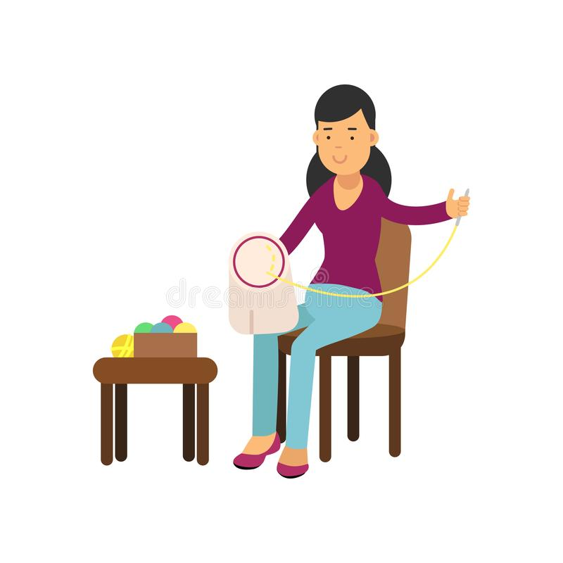 Illustration of young brunette woman sitting on the chair and embroidering on the canvas. Needlework concept. Vector royalty free illustration