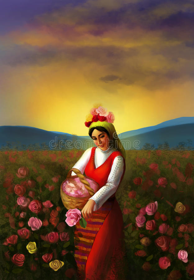 Illustration of a young Bulgarian girl wearing traditional clothing and piking up roses stock illustration