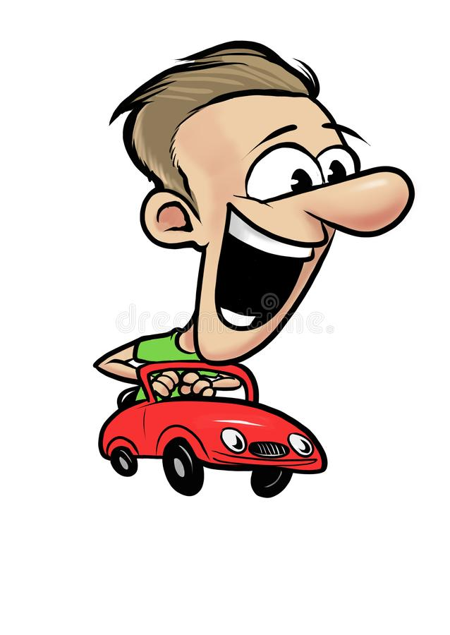 Young cheerful man driving fast red retro car royalty free stock photo