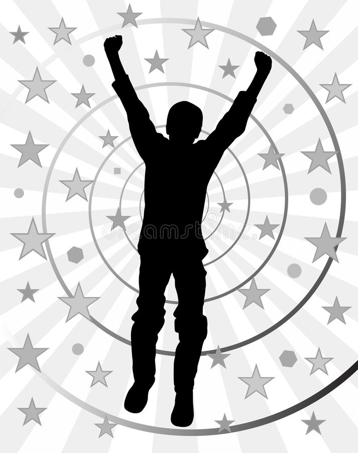 Young and happy winner. Illustration of a young happy winner. Abstract spiral black white background. EPS file available royalty free illustration