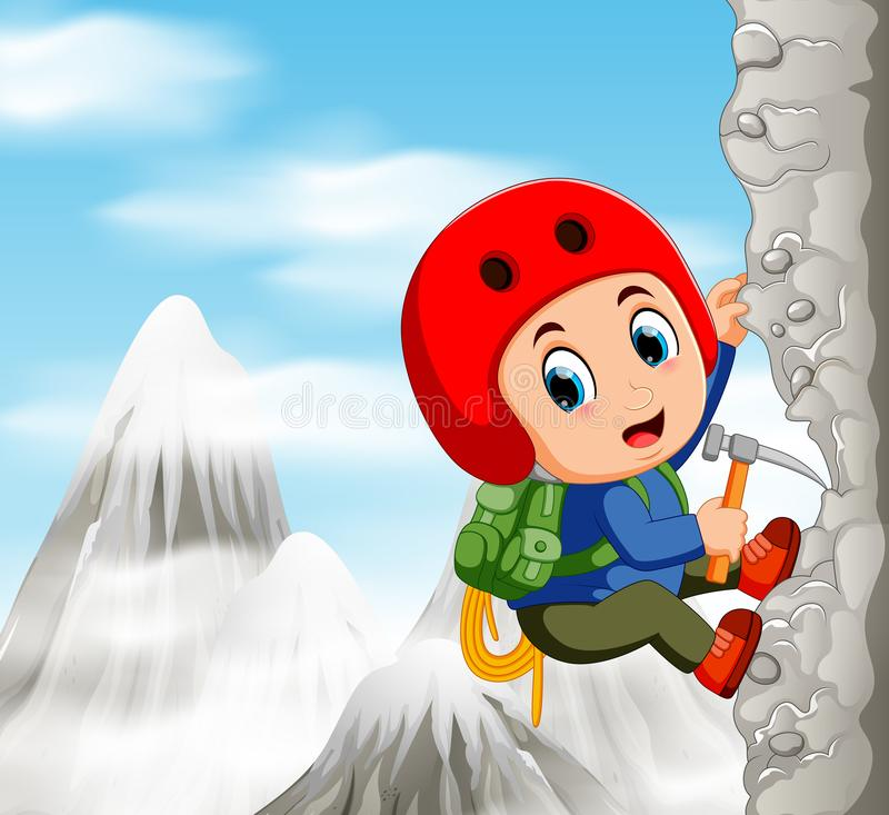 Young man while climbing challenging route on cliff. Illustration of Young man while climbing challenging route on cliff stock illustration