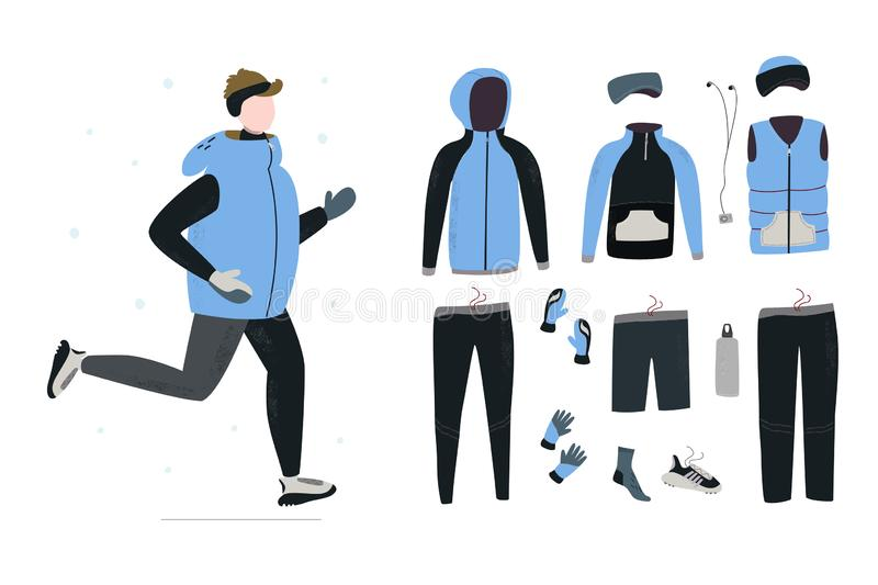 Illustration of young man running in winter cold season with winter running gear. stock illustration