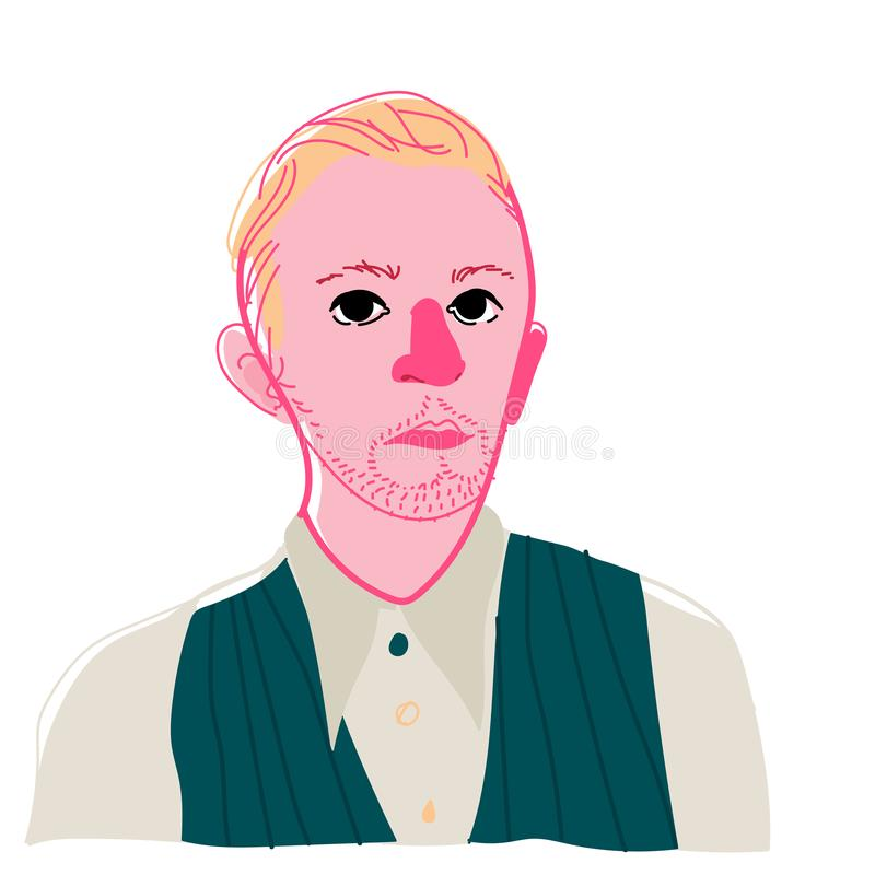 Illustration of a young man. Vector. Portrait of an abstract man in the style of pop art. Bright original image. A masterpiece of stock illustration