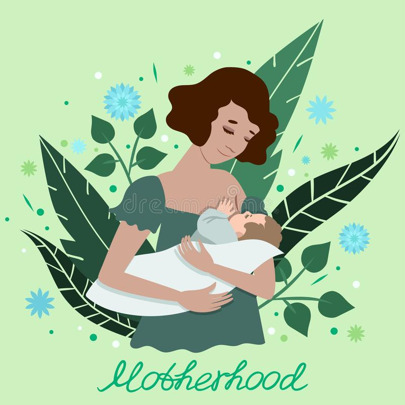 Illustration of a young mother breastfeeding her baby. A postcard with the words motherhood. Vector illustration. For medical royalty free illustration
