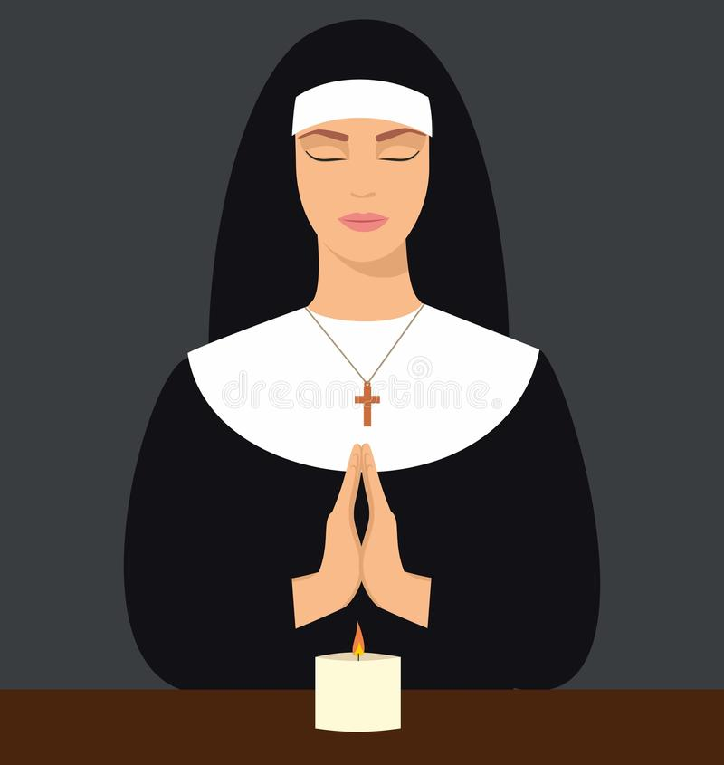 Illustration of a young nun with eyes closed and hands folded in prayer. Vector illustration of woman praying vector illustration
