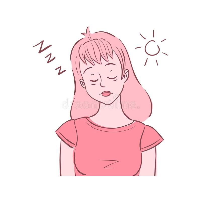 Illustration of young woman experienced fatigue. Illustration of young woman shown sleeping in the middle of the working day. She experienced fatigue stock illustration