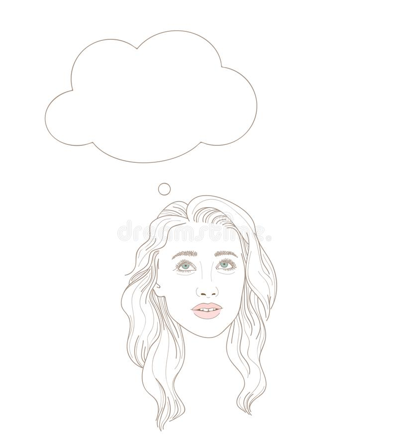 Illustration of young woman looking up dreamily with thinking bu royalty free illustration