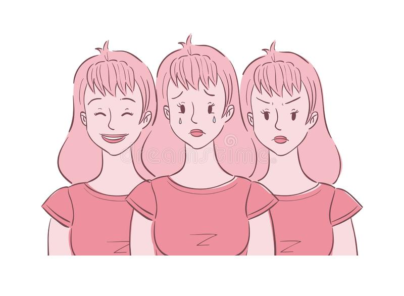 Young woman experienced mood swings. Illustration of young woman shown in different moods crying, angry, happy. She experienced mood swings royalty free illustration