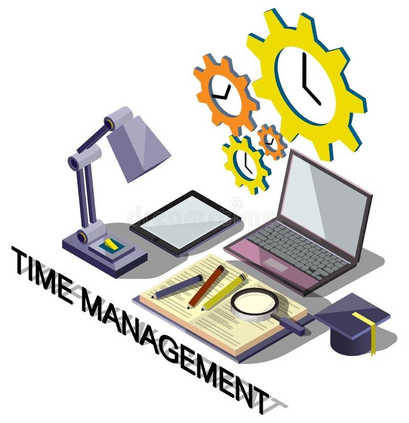 Illustration Zeitmanagementkonzeptes der Informationen des grafischen stock abbildung