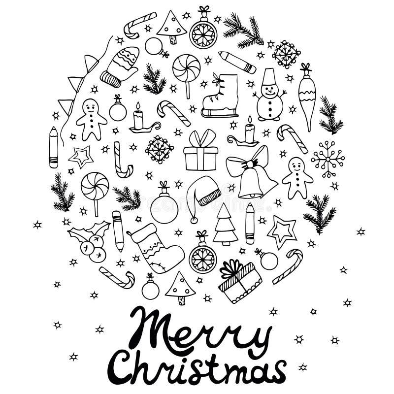 Illustration Zen Tangle de vecteur, marquant avec des lettres le Joyeux Noël Ensemble rond avec des éléments illustration libre de droits