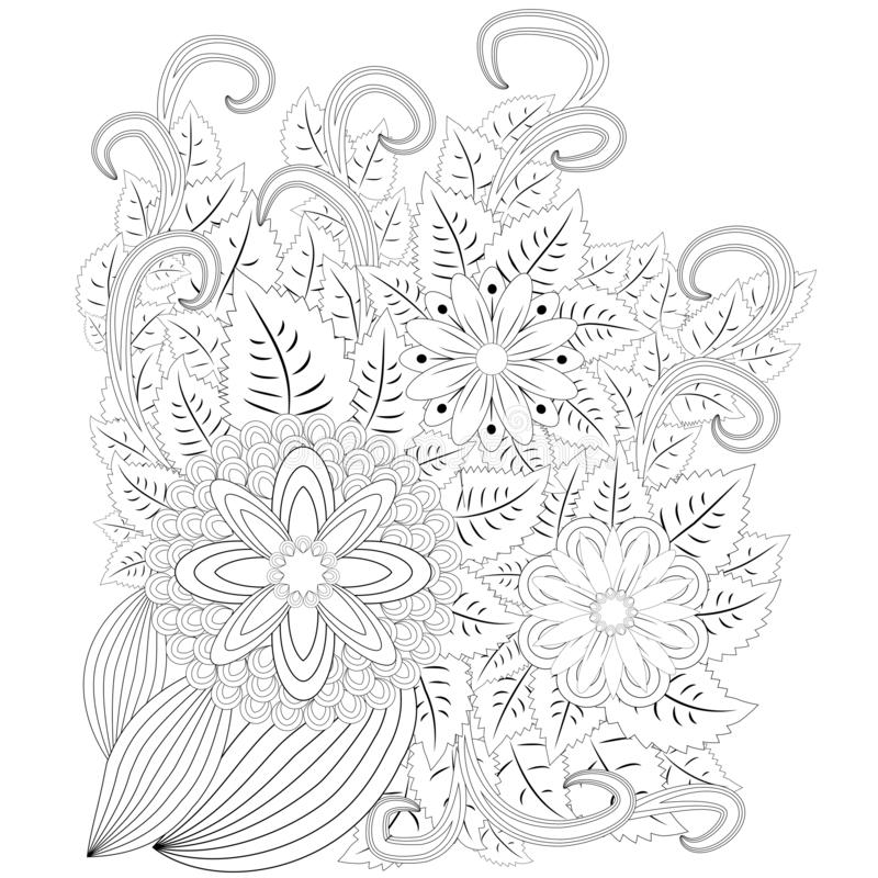 Illustration zentangl. Flower frame. Coloring book. Antistress for adults and children. The work was done in manual mode. Black. And white vector illustration