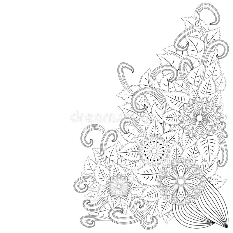 Illustration zentangl. Flower frame. Coloring book. Antistress for adults and children. The work was done in manual mode. Black. And white royalty free illustration
