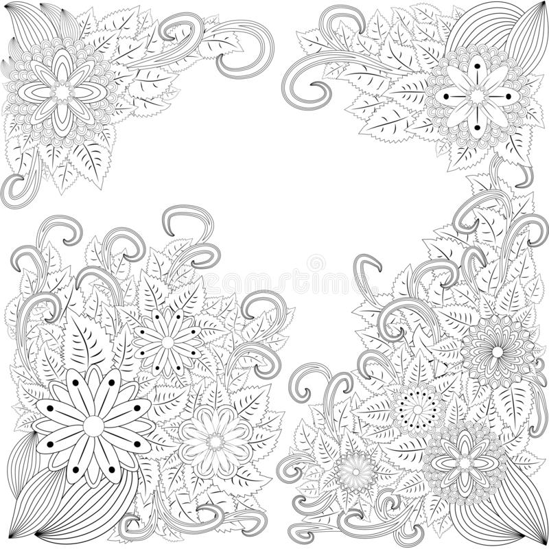 Illustration zentangl. Flower frame. Coloring book. Antistress for adults and children. The work was done in manual mode. Black. And white stock illustration
