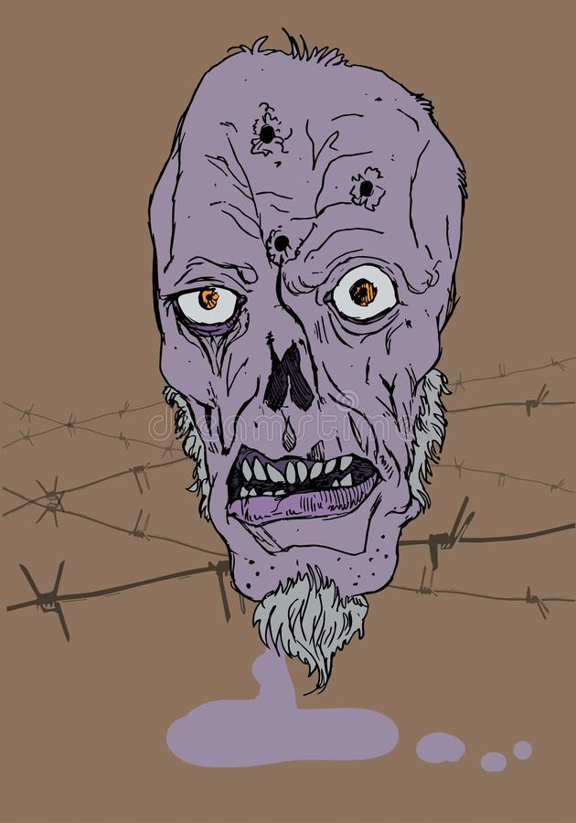 Illustration of zombie face with barb wire. Purple face and bullet holes in forehead painted in ps royalty free illustration
