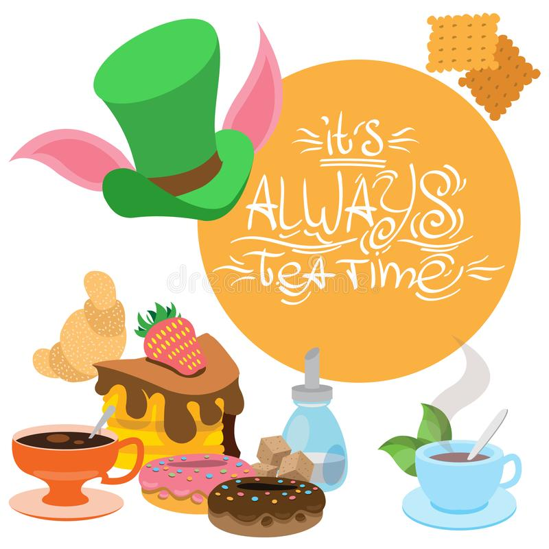 Illustration zu den der M?rchen Alices Abenteuern im M?rchenland Bonbons und Geb?ck Gr?ner Hut und Festlichkeiten schablone lizenzfreie abbildung