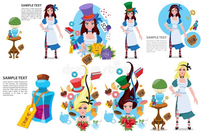 Illustration zu den der M?rchen Alices Abenteuern im M?rchenland zeichen vektor abbildung