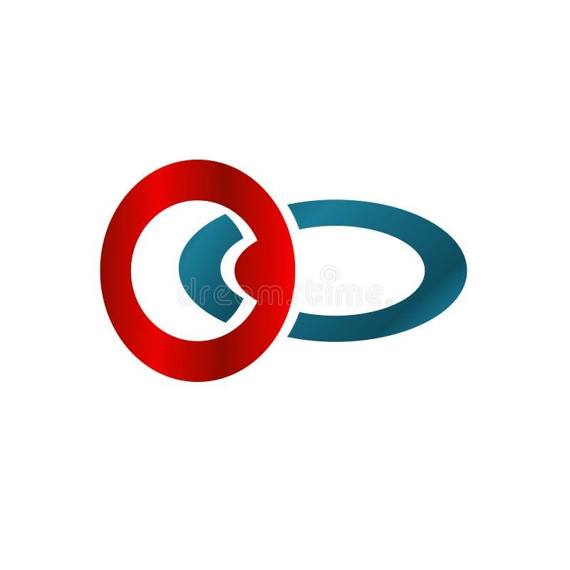 Illustrationaffärslogo med rött och blått cirkelbegrepp royaltyfri illustrationer