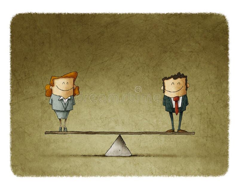 Illustrationaffärsman och affärskvinna på jämvikt royaltyfri illustrationer