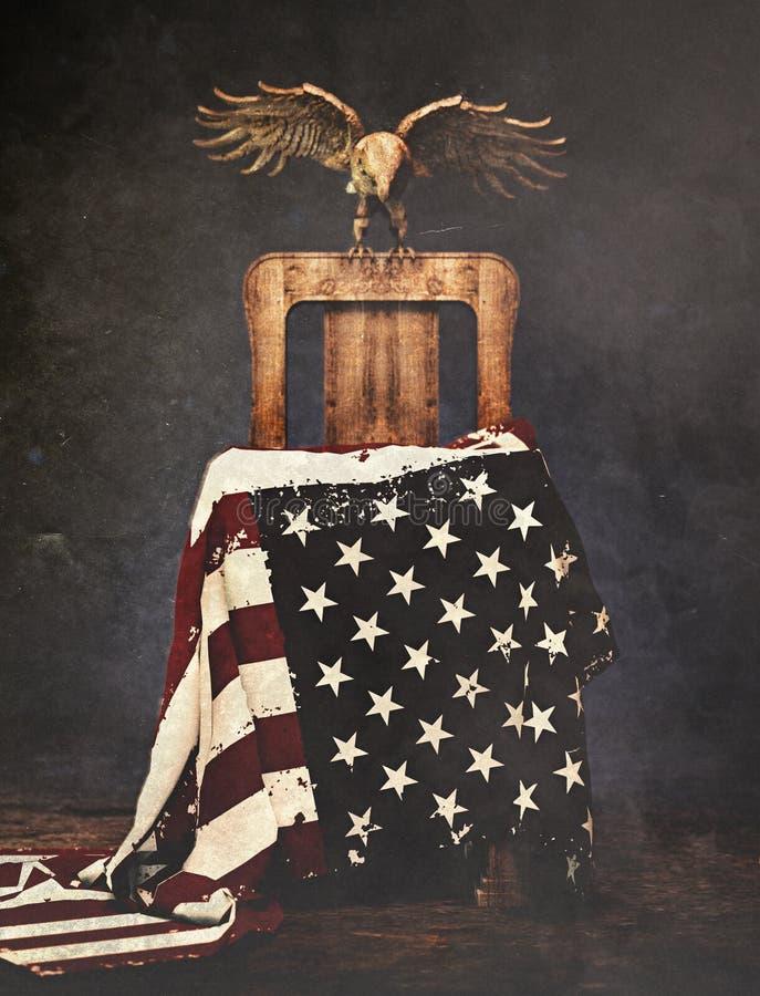 illustrationamerikanska flaggan och lantligt trä Eagle Chair för tolkning 3d stock illustrationer