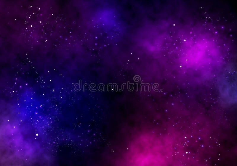 Illustrationbakgrund av ett oändligt utrymme med stjärnor, galaxer, nebulosor vektor illustrationer