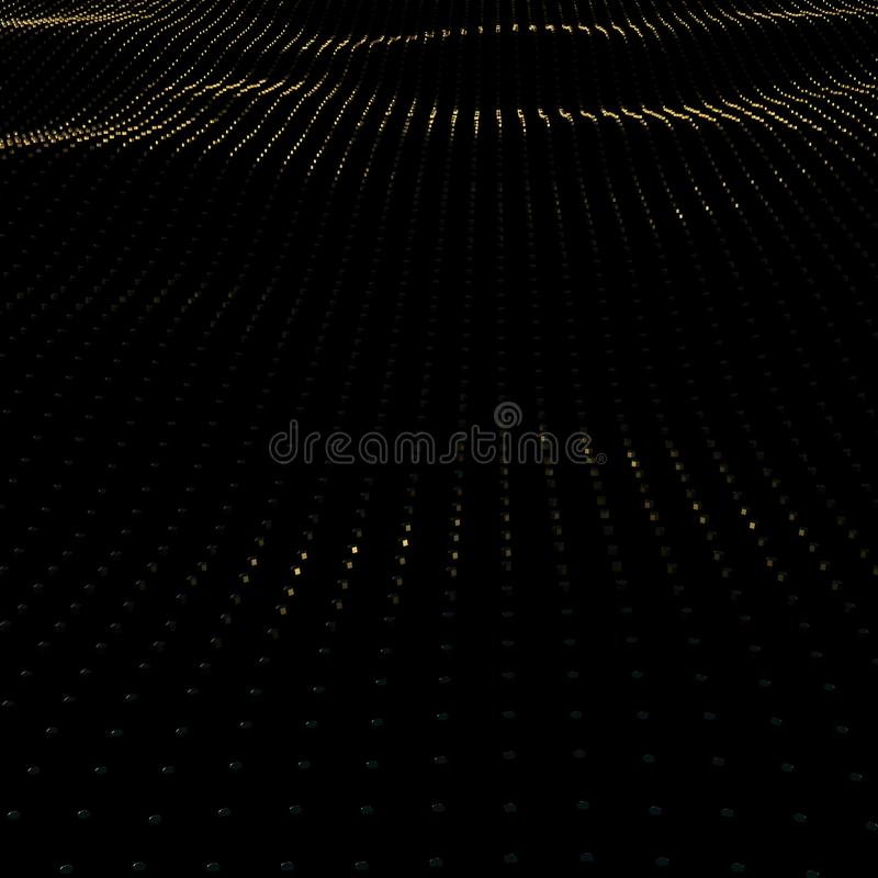 Illustrationbakgrund av partiklar på yttersida med vågor 3D framför av guld- yttersida för perspektiv stock illustrationer