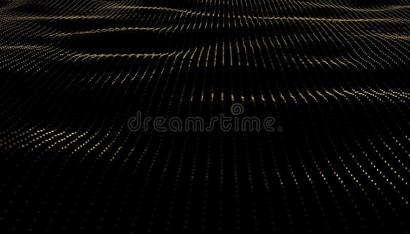 Illustrationbakgrund av partiklar på yttersida med vågor 3D framför av guld- yttersida för perspektiv royaltyfri illustrationer