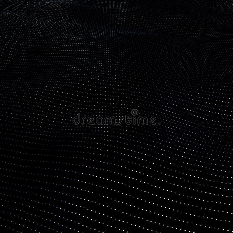 Illustrationbakgrund av partiklar på yttersida med vågor illustration 3D av perspektivet som glimmar yttersida vektor illustrationer
