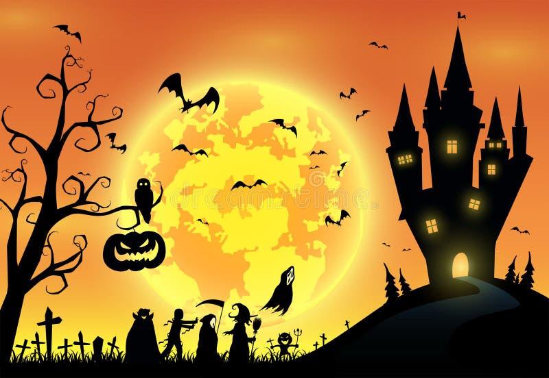 Illustrationbakgrund, festival halloween, fullmåne på mörk nig vektor illustrationer