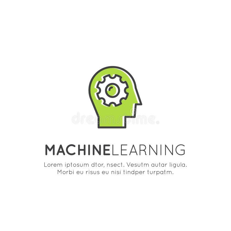 Illustrationbegrepp av att lära för maskin, konstgjord intelligens, virtuell verklighet, EyeTap teknologi av framtid stock illustrationer