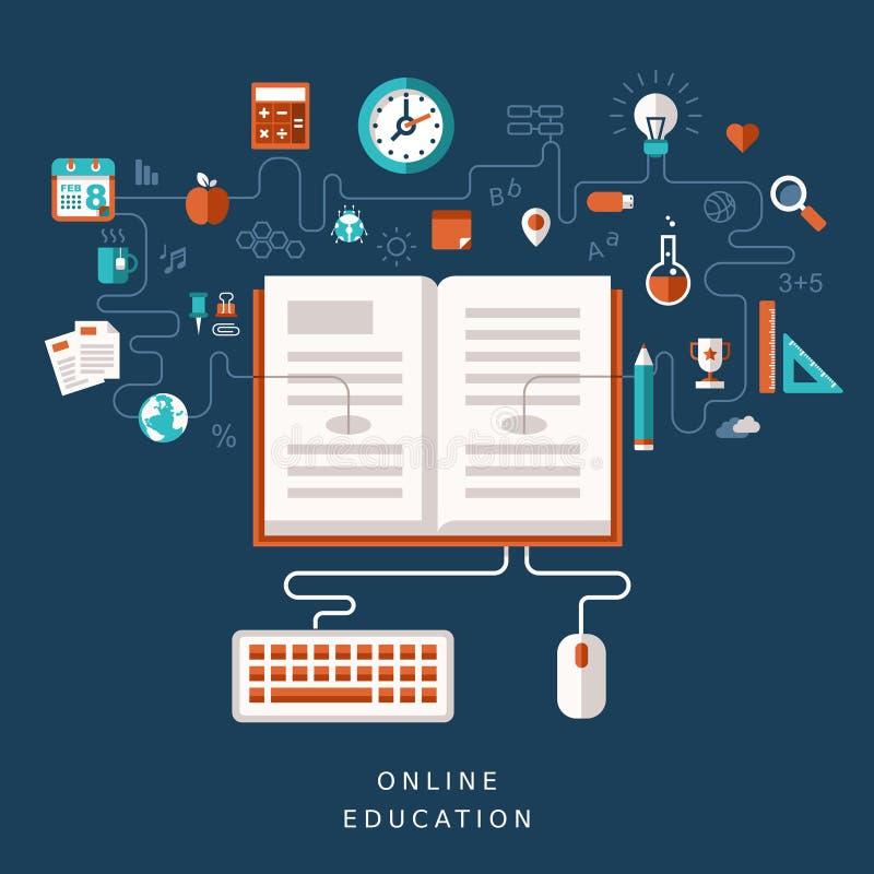 Illustrationbegrepp för online-utbildning stock illustrationer