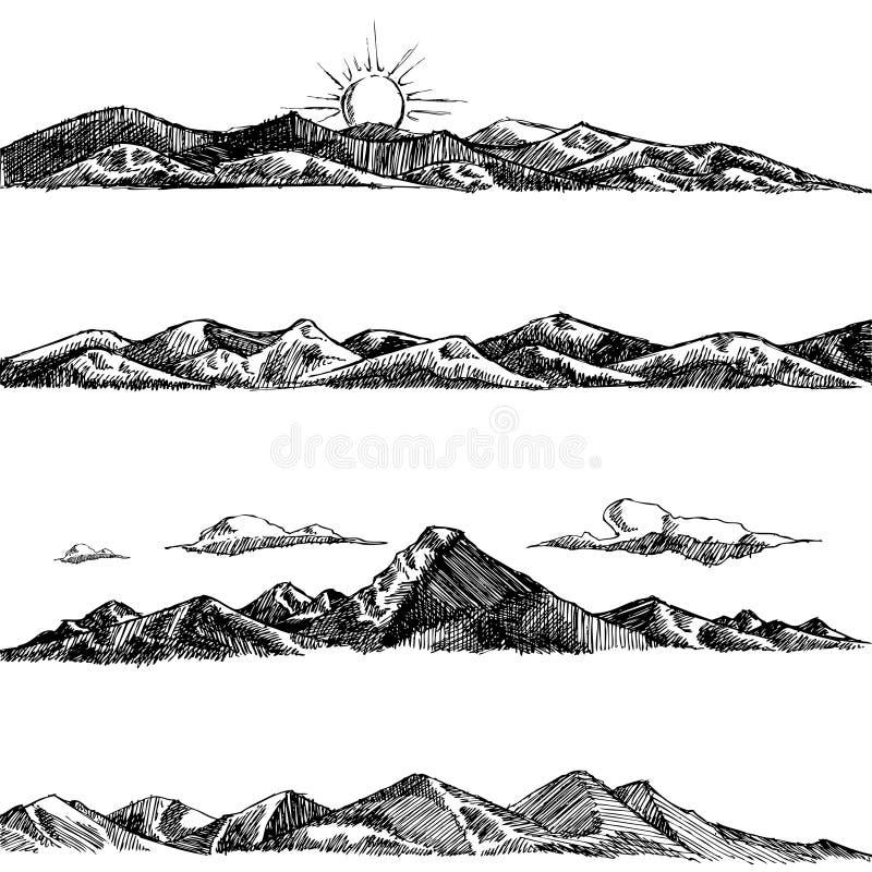 illustrationbergset royaltyfri illustrationer
