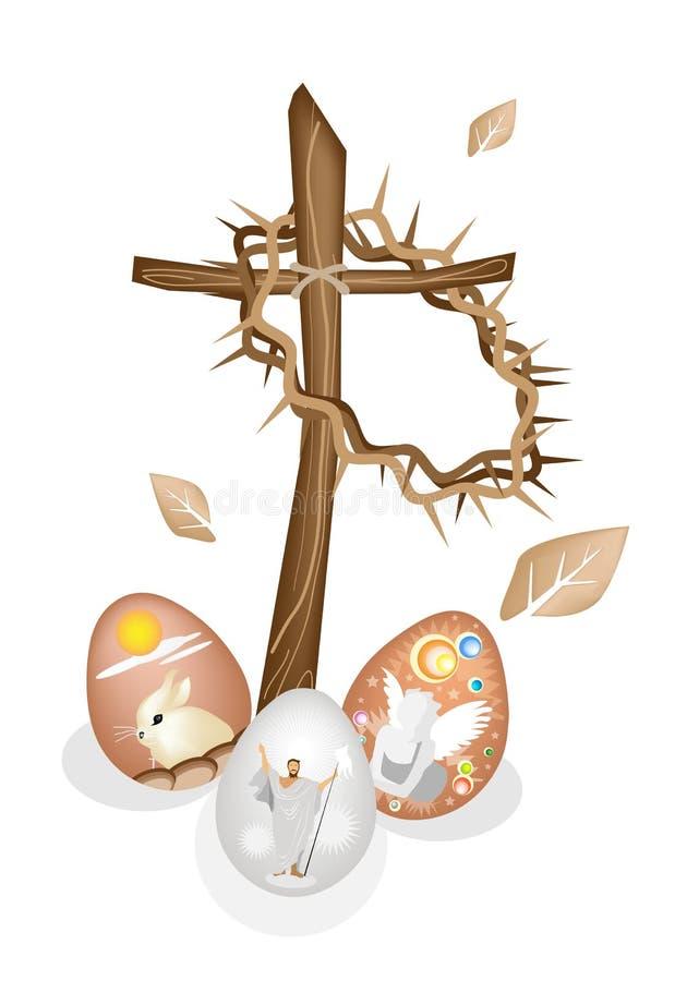 Trä korsa och en kröna av taggar med påskägget vektor illustrationer
