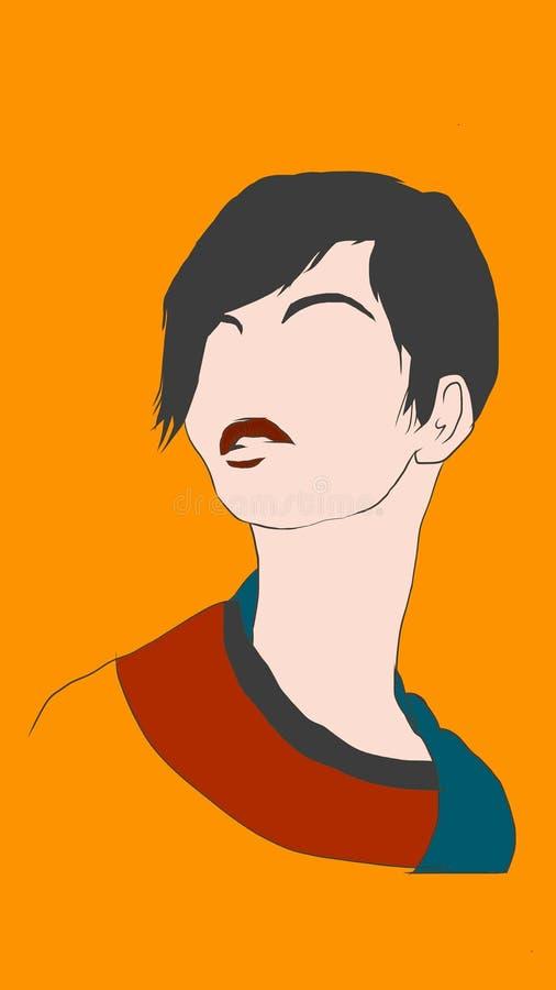 Illustrationdesign av en härlig ung dam med svart kort hår och röd läppstift stock illustrationer
