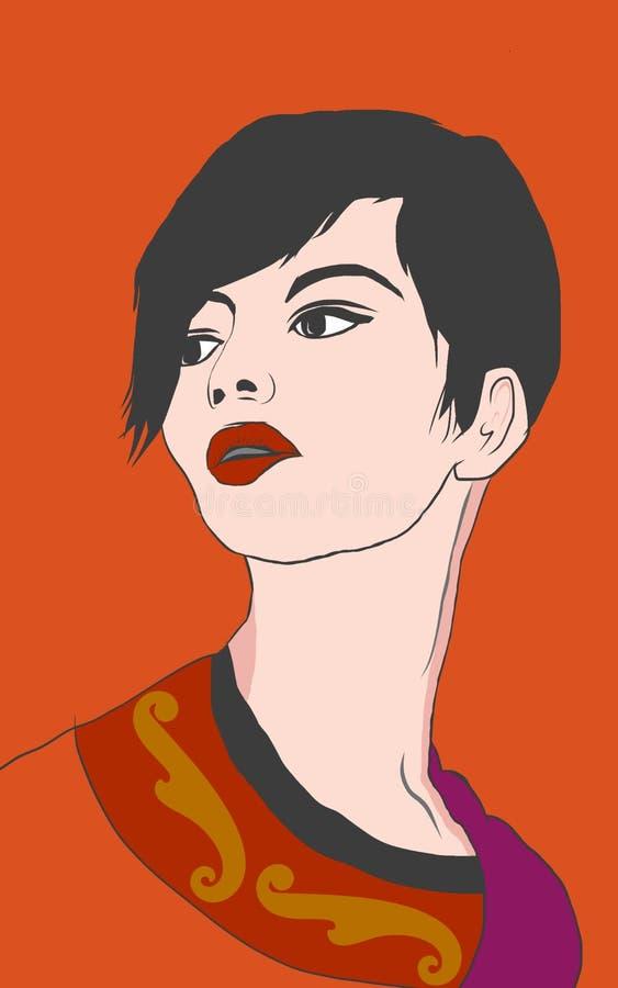 Illustrationdesign av en härlig ung kvinna för kort hår med röd läppstift i orange bakgrund vektor illustrationer