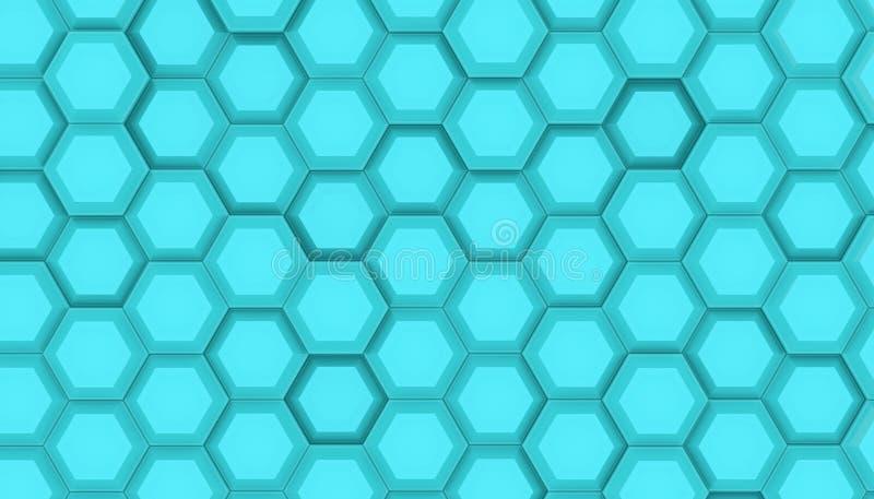 Illustrationdesign av geometrisk sexhörningsyttersida Rastermodell av vinkande hexagones Cyan tolkning för färg 3D royaltyfri illustrationer