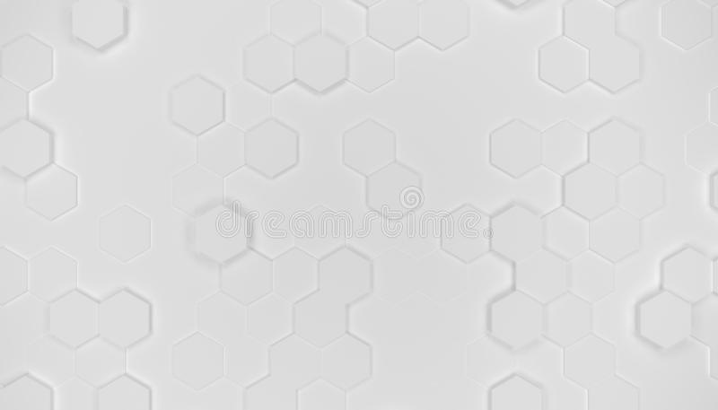 Illustrationdesign av geometrisk sexhörningsyttersida Rastermodell av vinkande hexagones Ren vit färg stock illustrationer