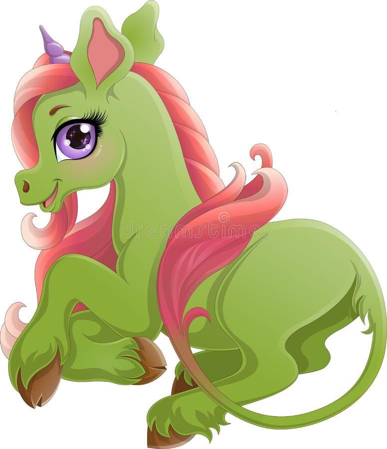 Illustrationen av att le gräsplan behandla som ett barn enhörningen med den långa rosa svansen och det violetta hornet vektor illustrationer