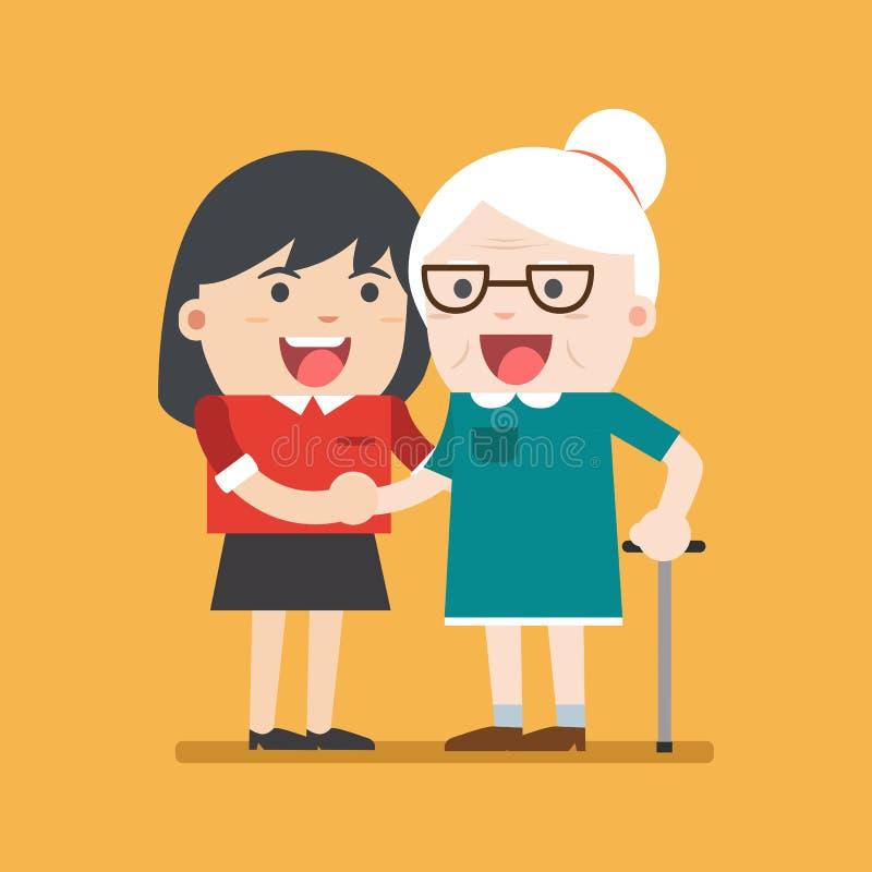 Illustrationen av barn ställa upp som frivillig kvinnan som att bry sig för äldre kvinna stock illustrationer
