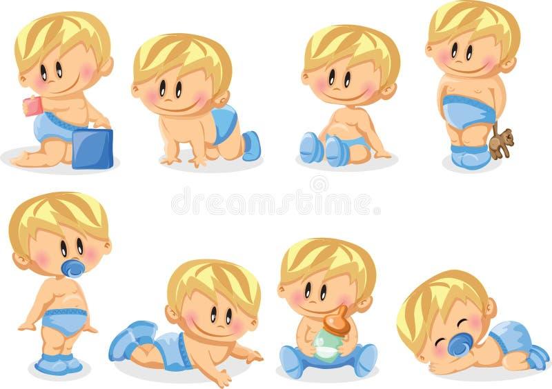 Illustrationen av behandla som ett barn pojkar royaltyfri illustrationer