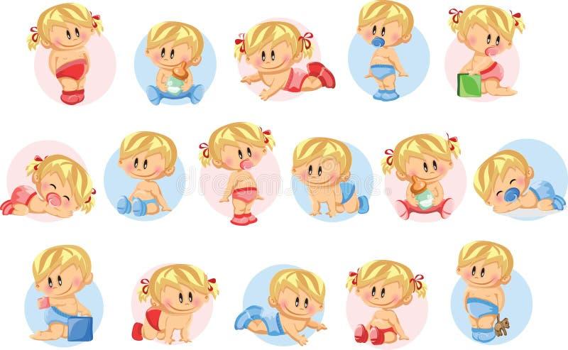 Illustrationen av behandla som ett barn pojkar och behandla som ett barn flickor stock illustrationer
