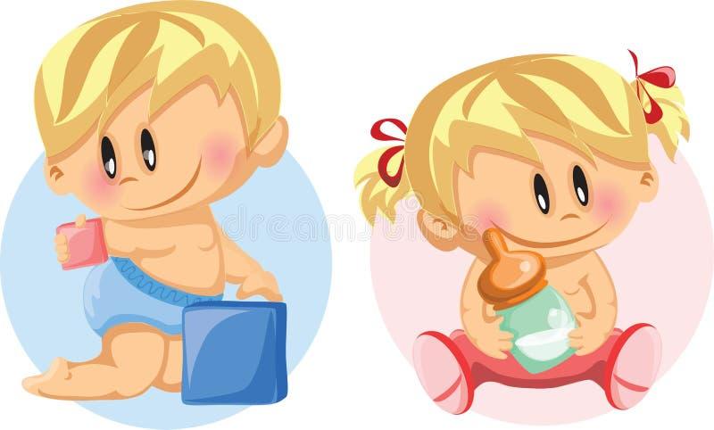 Illustrationen av behandla som ett barn pojken och behandla som ett barn flickan royaltyfri illustrationer