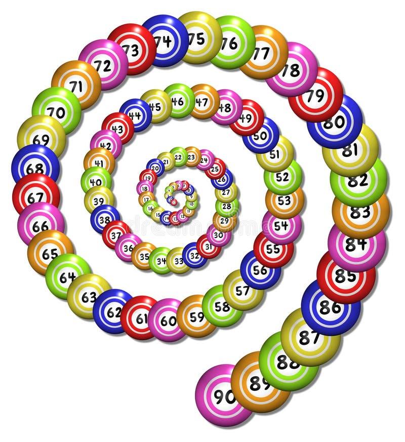 Bingoen röra sig i spiral stock illustrationer